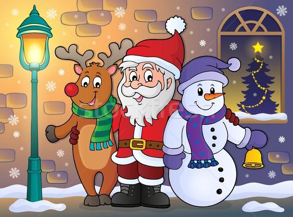 Christmas characters on sidewalk theme 1 Stock photo © clairev