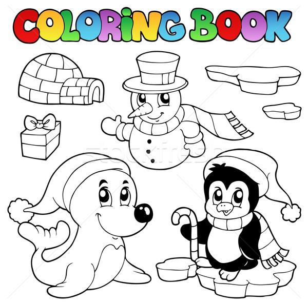 Coloring book wintertime animals 3 Stock photo © clairev