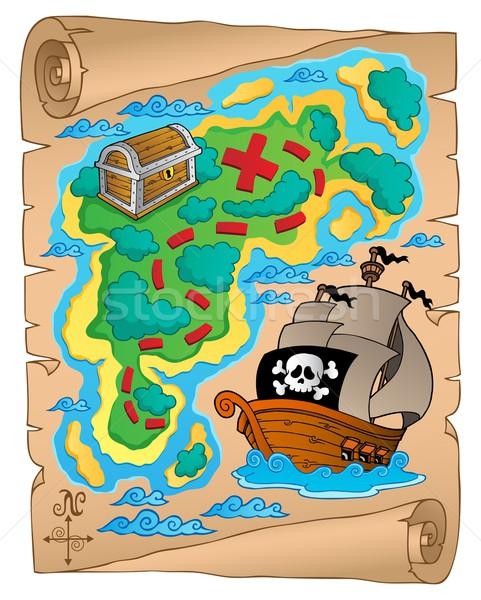 пергаменте Карта сокровищ карта лодка судно ретро Сток-фото © clairev