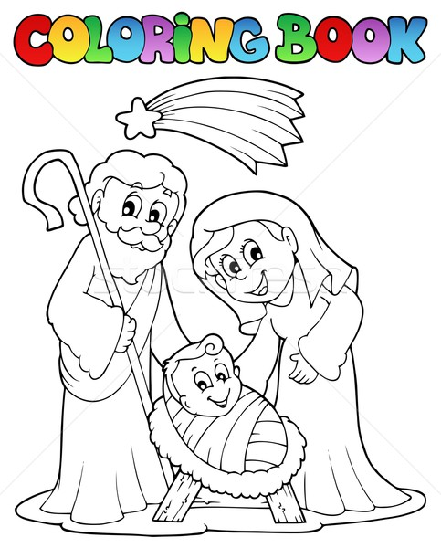 Coloring book Nativity scene 1 Stock photo © clairev
