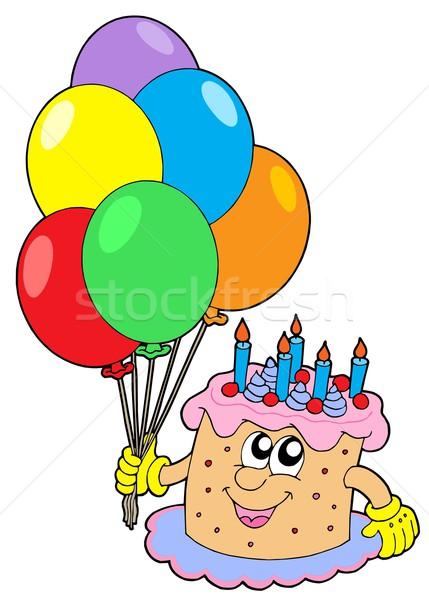 Bolo de aniversário balões vela doce cor dom Foto stock © clairev
