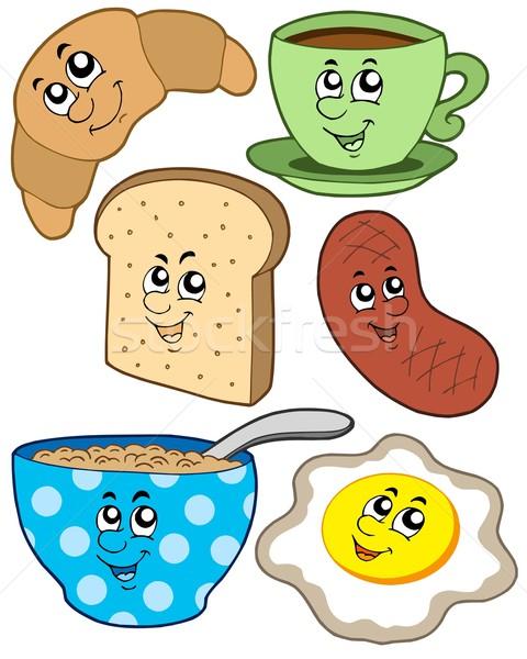 Stok fotoğraf: Karikatür · kahvaltı · toplama · yüz · kahve · dizayn