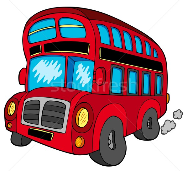 Bus blanche art Voyage rouge Ouvrir la Photo stock © clairev