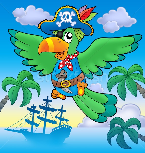 Flying pirate parrot with boat Stock photo © clairev