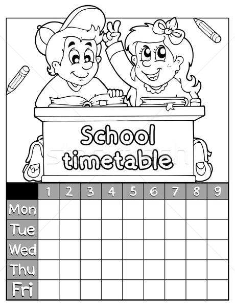 Kleurboek dienstregeling onderwerp kinderen boek school Stockfoto © clairev
