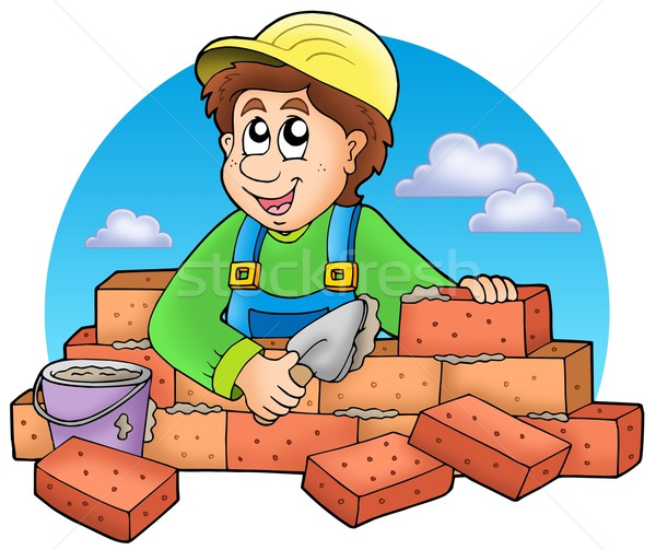 Cartoon bricklayer with clouds Stock photo © clairev