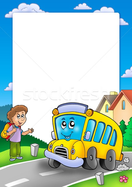 Frame with school bus and boy Stock photo © clairev