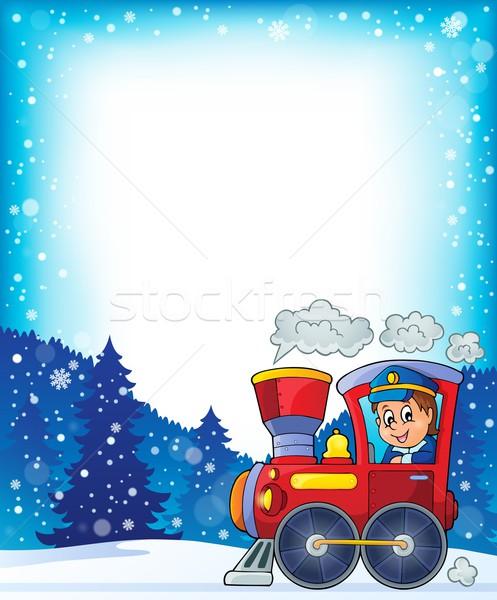 Winter locomotief man gelukkig werk venster Stockfoto © clairev