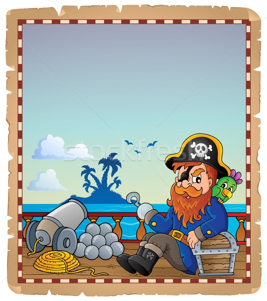 Parchment with pirate ship deck 7 Stock photo © clairev