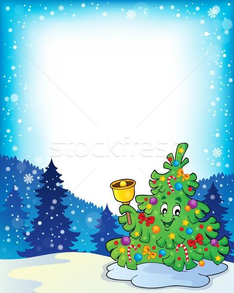 кадр рождественская елка тема дерево искусства Рождества Сток-фото © clairev