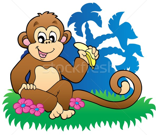 Stock photo: Monkey eating banana near palms
