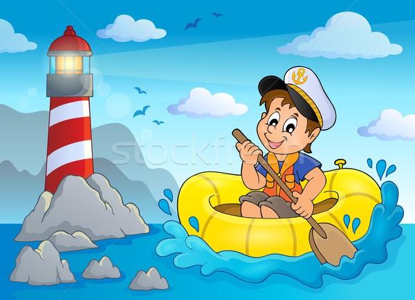 Mały marynarz obraz wody szczęśliwy dziecko Zdjęcia stock © clairev