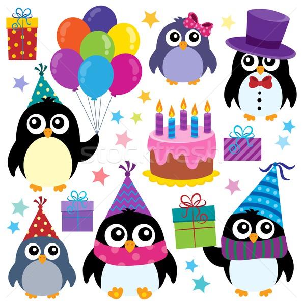 Stock photo: Party penguins theme set 1