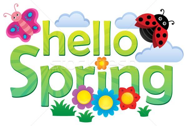 Olá primavera imagem flores abstrato arte Foto stock © clairev