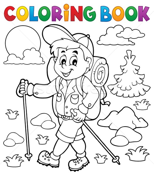 Coloring book hiker outdoor Stock photo © clairev