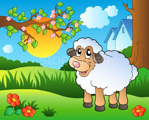 Cute sheep on spring meadow Stock photo © clairev