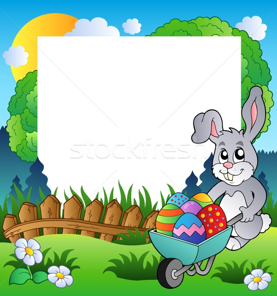 Easter frame with bunny and barrow Stock photo © clairev