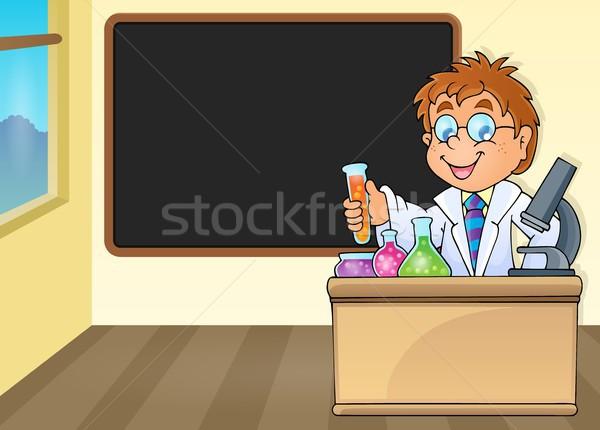 Chemistry teacher by blackboard Stock photo © clairev