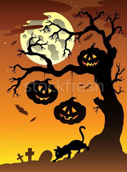 Scene with Halloween tree 2 Stock photo © clairev