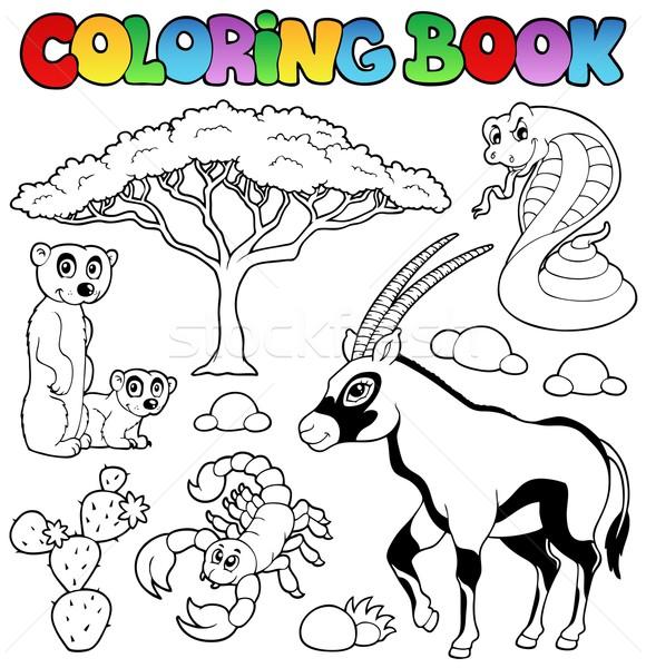 книжка-раскраска саванна животные книга природы краской Сток-фото © clairev