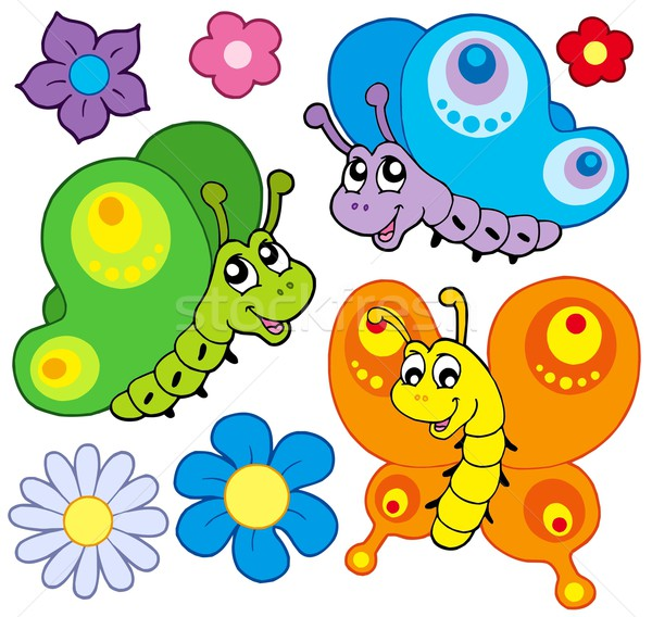 Stok fotoğraf: Karikatür · kelebekler · toplama · çiçekler · doğa · güzellik