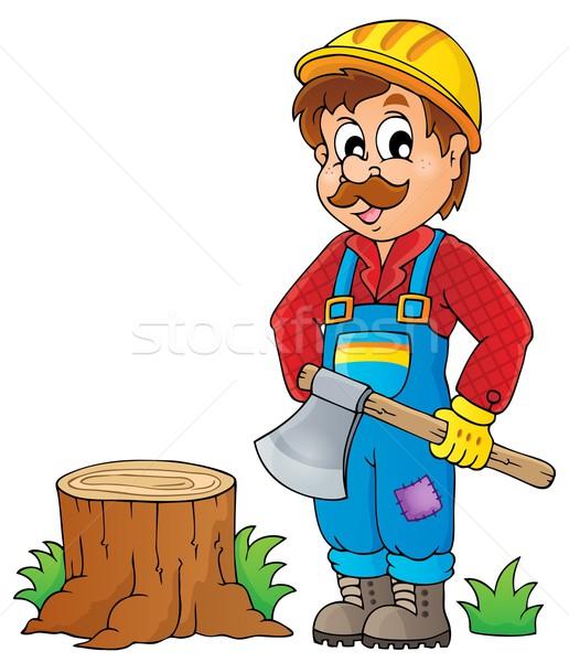 Imagem lenhador homem madeira arte trabalhando Foto stock © clairev