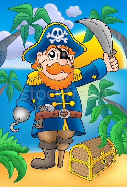 Pirate with sabre and treasure chest Stock photo © clairev
