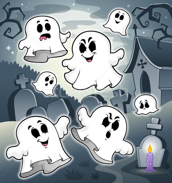 Halloween manzara mezarlık ay gece çizim Stok fotoğraf © clairev