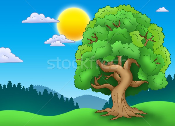 Green leafy tree in landscape Stock photo © clairev
