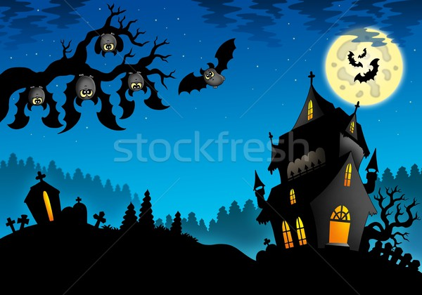 Halloween landscape with mansion Stock photo © clairev