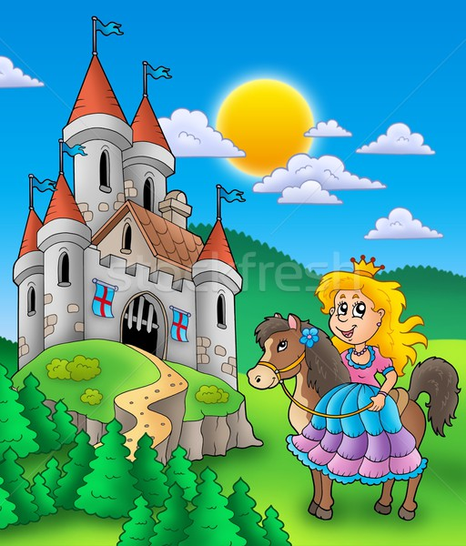 Princess on horse with castle Stock photo © clairev
