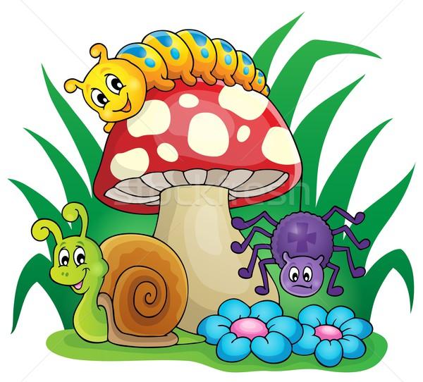 Vergiftige paddestoel klein dieren natuur ontwerp spin Stockfoto © clairev