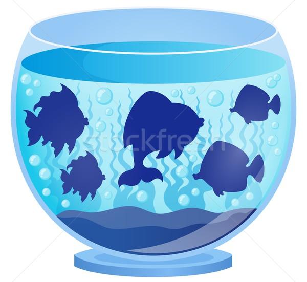 Aquarium with fish silhouettes 2 Stock photo © clairev
