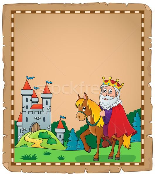 Pergamena re cavallo arte vestiti animale Foto d'archivio © clairev