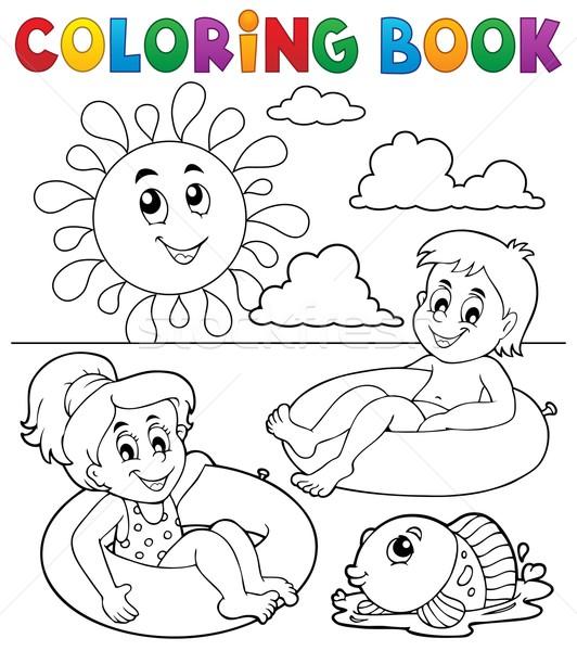 Coloring book children in swim rings 1 Stock photo © clairev