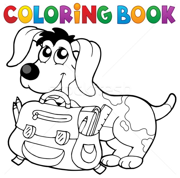 Coloring book dog with schoolbag theme 2 Stock photo © clairev