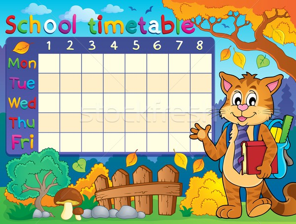 School timetable with cat Stock photo © clairev