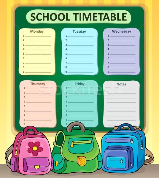 Hebdomadaire école calendrier design table apprentissage Photo stock © clairev