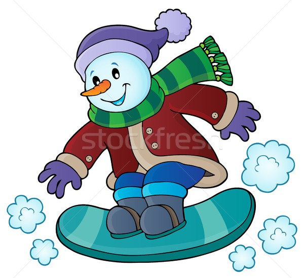 Snowman on snowboard theme image 1 Stock photo © clairev