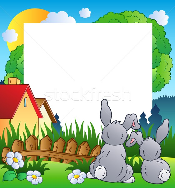 Spring frame with two rabbits Stock photo © clairev