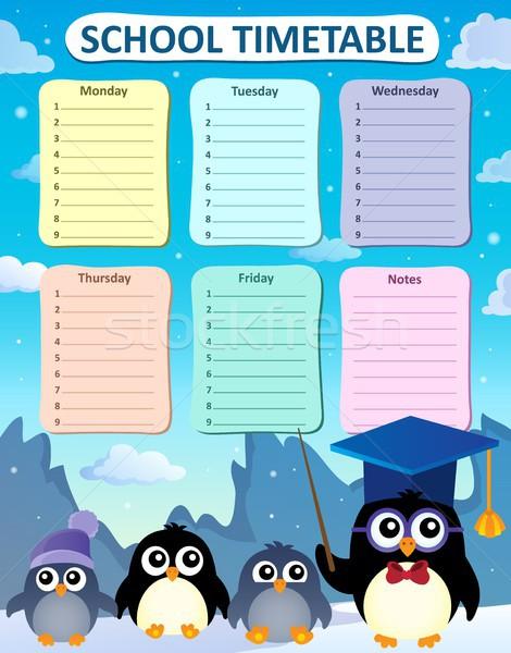 Heti iskola időbeosztás terv szemüveg tél Stock fotó © clairev