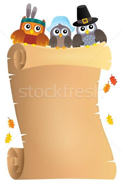 Dziękczynienie pergamin papieru liści sztuki ptaków Zdjęcia stock © clairev