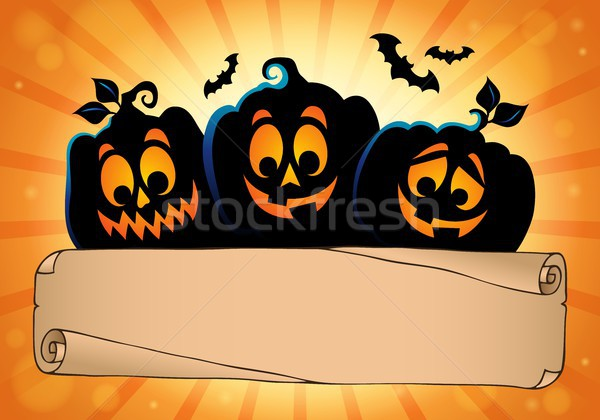 Wide parchment and Halloween pumpkins 2 Stock photo © clairev