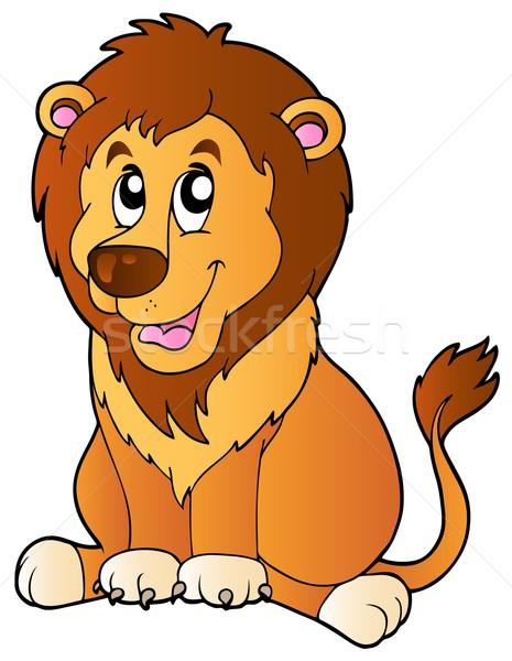 Cartoon seduta leone sorriso cat design Foto d'archivio © clairev