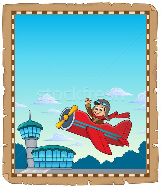 Parchment with retro airplane theme 1 Stock photo © clairev