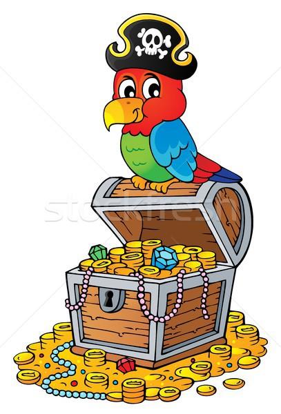 Piraat papegaai schatkist onderwerp kunst vogel Stockfoto © clairev