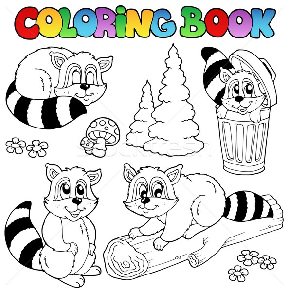 Coloring book with cute racoons Stock photo © clairev
