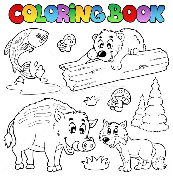 Coloring book with woodland animals Stock photo © clairev