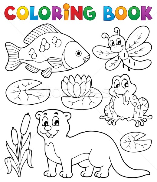 Coloring book river fauna image 1 Stock photo © clairev