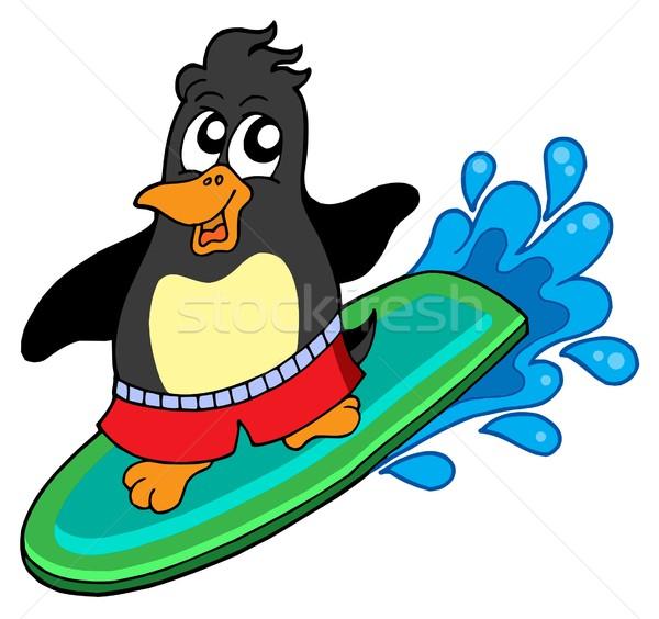 Surfing penguin Stock photo © clairev